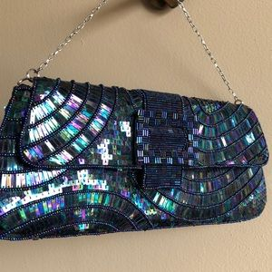 Bcbgmaxazria beaded sequin clutch